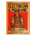 """""""Tarjeta del Febrero-Electricista 1913 y del mecán"""