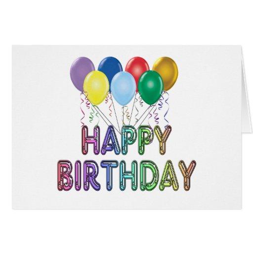 Tarjeta del feliz cumpleaños con los globos