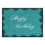Tarjeta del feliz cumpleaños - cordón del vintage
