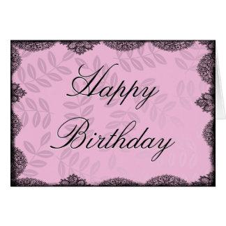 Tarjeta del feliz cumpleaños - cordón rosado del v
