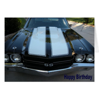 Tarjeta del feliz cumpleaños de 70 Chevelle