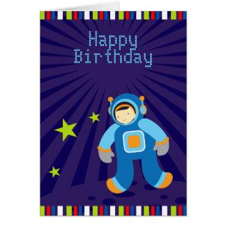 Tarjeta del feliz cumpleaños de la era espacial