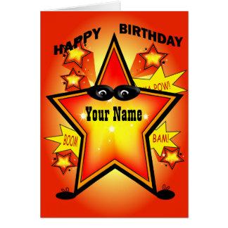 Tarjeta del feliz cumpleaños de la estrella del su
