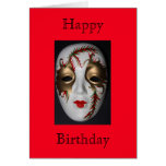 Tarjeta del feliz cumpleaños de la máscara