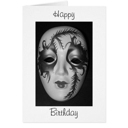 Tarjeta del feliz cumpleaños de la máscara de la m