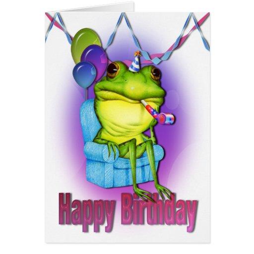 Tarjeta del feliz cumpleaños de la rana