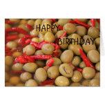 Tarjeta del feliz cumpleaños de las aceitunas y de