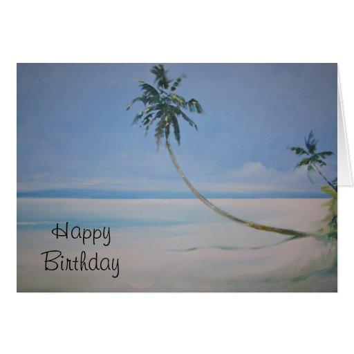 Tarjeta del feliz cumpleaños de las palmeras