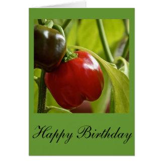 Tarjeta del feliz cumpleaños de las pimientas