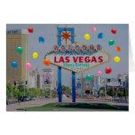 Tarjeta del feliz cumpleaños de Las Vegas con los