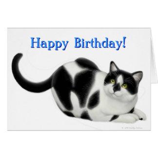 Tarjeta del feliz cumpleaños de los gatos del smok