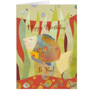 Tarjeta del feliz cumpleaños de los pescados de la
