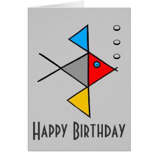 Tarjeta del feliz cumpleaños de los pescados del á