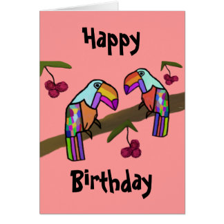 Tarjeta del feliz cumpleaños de Toucans