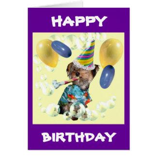 Tarjeta del feliz cumpleaños de Yorkie