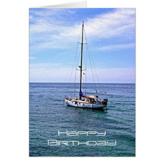 Tarjeta del feliz cumpleaños del barco de navegaci