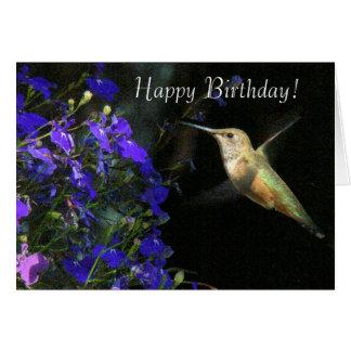 Tarjeta del feliz cumpleaños del colibrí