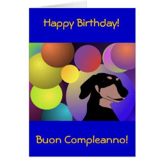 Tarjeta del feliz cumpleaños del Dachshund de Bico