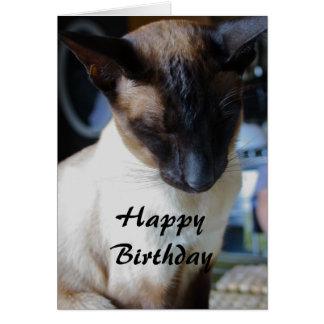 Tarjeta del feliz cumpleaños del gato siamés