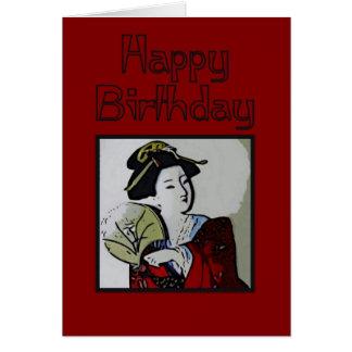 Tarjeta del feliz cumpleaños del geisha