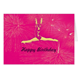 Tarjeta del feliz cumpleaños del gimnasta