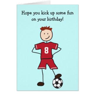 Tarjeta del feliz cumpleaños del jugador de fútbol