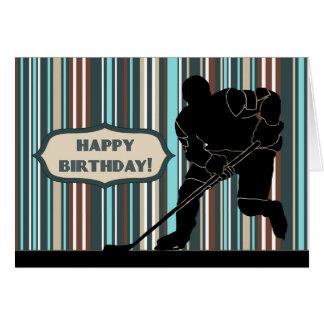 Tarjeta del feliz cumpleaños del jugador de hockey