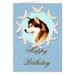 Tarjeta del feliz cumpleaños del Malamute de Alask