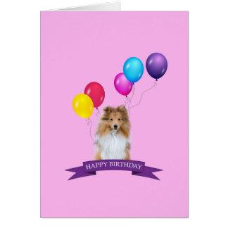 Tarjeta del feliz cumpleaños del perro pastor de