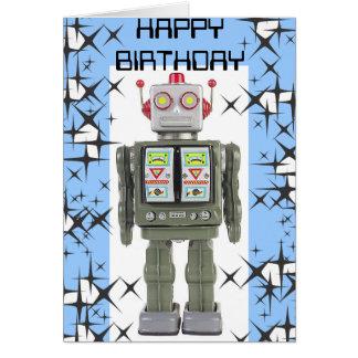 Tarjeta del feliz cumpleaños del robot