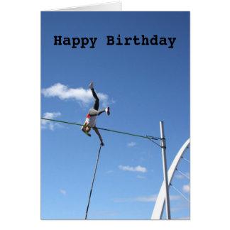 Tarjeta del feliz cumpleaños del saltador de poste