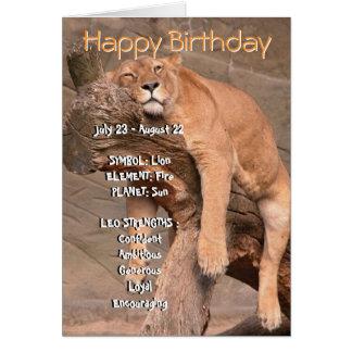 Tarjeta del feliz cumpleaños del zodiaco - Leo