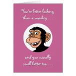 Tarjeta del feliz cumpleaños: Mono divertido