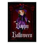Tarjeta del feliz Halloween de la bruja 6 de Hallo