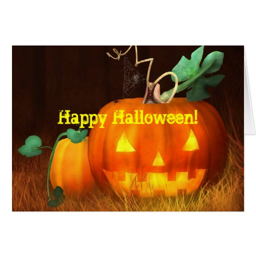 Tarjeta del feliz Halloween de la calabaza