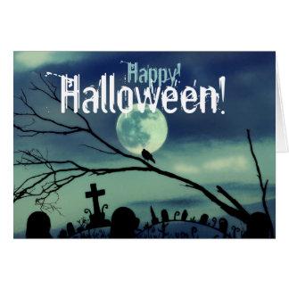 Tarjeta del feliz Halloween del cementerio de la