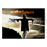 Tarjeta del feliz Halloween del espantapájaros