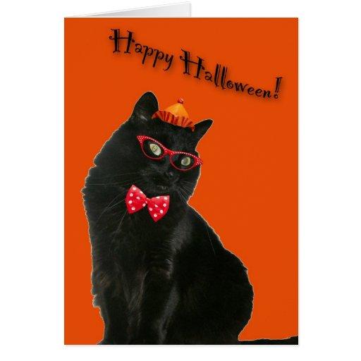 Tarjeta del feliz Halloween del gato negro