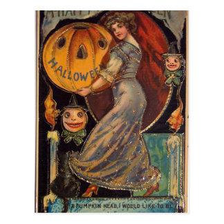 Tarjeta del feliz Halloween del vintage, Jack Tarjetas Postales