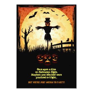 Tarjeta del fiesta de Halloween del claro de luna Invitaciones Personales