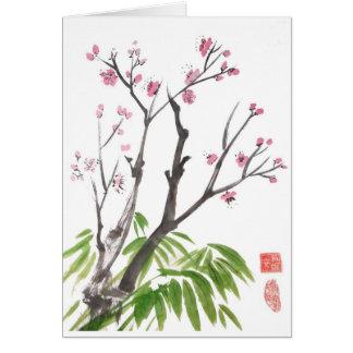 Tarjeta del flor y del bambú del ciruelo