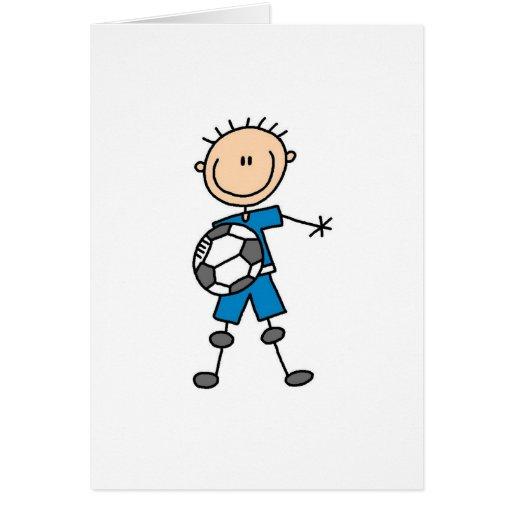 Tarjeta del fútbol de los muchachos azules
