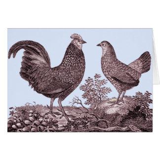 Tarjeta del gallo y de la gallina