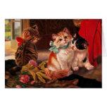 Tarjeta del gatito de tres vintages