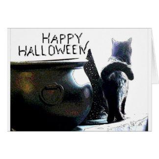 Tarjeta del gatito de Witchy