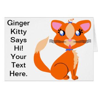 Tarjeta del gatito del jengibre