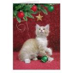 Tarjeta del gatito y del árbol de navidad