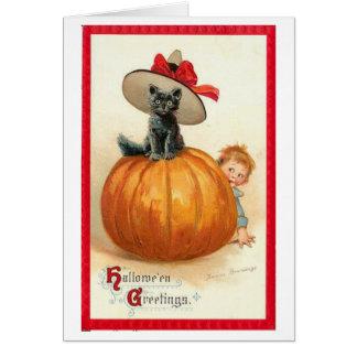Tarjeta del gato de Halloween del vintage