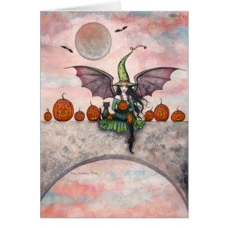 Tarjeta del gato de la bruja de Halloween de la di