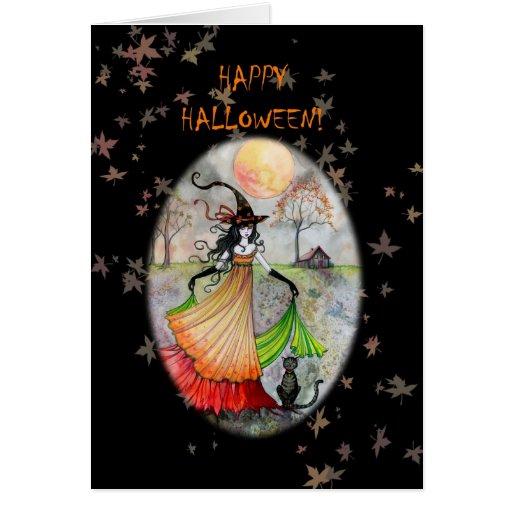 Tarjeta del gato de la bruja del feliz Halloween